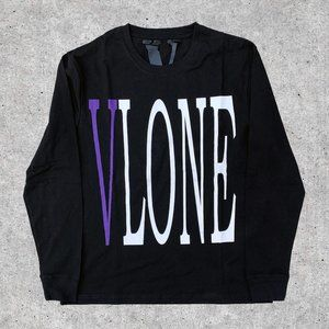 Vlone Staple Purple on Black Long Sleeve Tee
